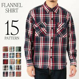チェックシャツ ネルシャツ ヘビーネル 厚手 肉厚 コットン 綿 トップス アウター感覚で着れる 15パターン カラー豊富 509-00