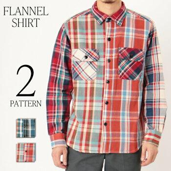 チェックシャツネルシャツヘビーネル厚手肉厚裏起毛コットン綿トップスアウター感覚で着れる2パターン配色クレイジー柄509-01