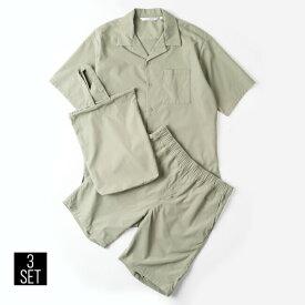 シャツ メンズ トップス パンツ ショーツ ショートパンツ 半袖 セットアップ 無地 ポリエステル 3点セット 全4色 735153