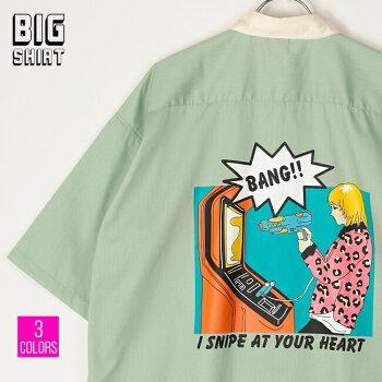 シャツメンズ半袖ビッグシルエットオーバーサイズドロップショルダー薄手ツイル素材バックプリントゲームガール全3色21706