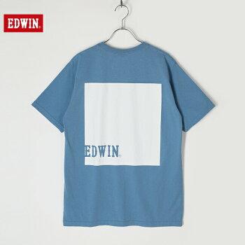 EDWINエドウィントップスメンズレディースユニセックス半袖Tシャツバックプリントボックスロゴレギュラーシルエット全4色ET8038-1