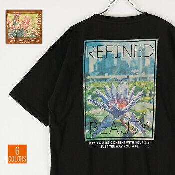 Tシャツメンズレディースユニセックス半袖FLOWERPHOTOPRINTT-SHIRTバックプリントオーバーサイズビッグサイズ全6色H20-133-21S