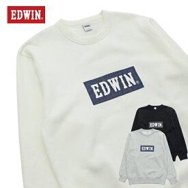 EDWIN エドウィン デニムBOXロゴ スウェット トレーナー クルーネック ET5835-1 メンズ
