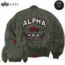 メンズ ミリタリーアウター ALPHA INDUSTRIES アルファインダストリーズ MA-1 タイトジャケット バックエンブロイダリー TA0112-2