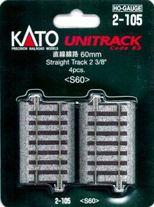 【1/80:16.5mm】2-105 直線線路60mm(4本入)[KATO]《取り寄せ※暫定》