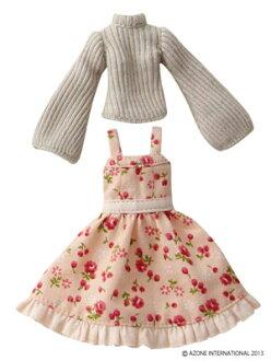 Picco Neemo 1/12 Picco D Tidy Flower Jumper Skirt Set/ BEIGE + PINK BEIGE (DOLL CLOTHING)(Released)(ピコニーモ 1/12 ピコD ティディフラワージャンスカset ベージュ+ピンクベージュ(ドール用衣装))