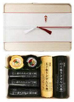 Norimaki Towel Oribako Gift Set (Big) 2 Big Rolls & 3 Slim Rolls & 2 Chibi Rolls(Back-order)(のり巻きタオル 折箱ギフトセット〈大〉太巻2本&細巻3本&チビ巻2本)