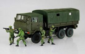 1/72 ミリタリーモデルキット No.11 陸上自衛隊 3 1/2t トラック装甲強化型(隊員6体セット) プラモデル(再販)[アオシマ]《取り寄せ※暫定》