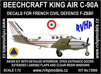 """1/72 Beechcraft C-90A King Air """"French Civil Defense"""" Full Resin Kit(Released)(1/72 ビーチクラフトC-90Aキングエア 「仏内務省 市民安全局」 フルレジンキット)"""