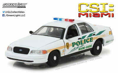 1/43 CSI: Miami (2002-2012 TV Series) - 2003 Ford Crown Victoria Police Interceptor Miami-Dade Police[グリーンライト]《取り寄せ※暫定》