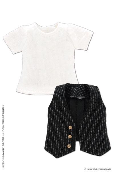ピコニーモ用 1/12 Tシャツ&ジレセット ブラック×ホワイトストライプ (ドール用)[アゾン]《05月予約》
