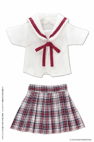 ピコニーモ用 1/12 白襟チェックセーラー服セット レッドチェック (ドール用)[アゾン]《05月予約》