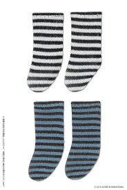 ピコニーモ用 1/12 ピコDボーダーソックスII Aセット ブラック×ホワイト・チョコレート×ブルー (ドール用)[アゾン]《発売済・在庫品》