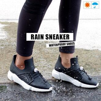网网女士雷恩运动鞋雨鞋雷恩长筒靴运动鞋懒汉鞋鞋晴雨兼用防水防水雨黑黑色36-40