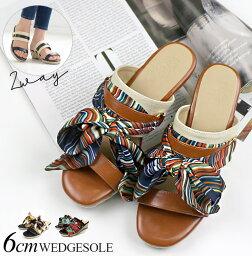 黄麻楔子鞋底黑尾鹿圍巾蝴蝶結女士黑色深藍駱駝22.5 23.0 23.5 24.0 24.5 25.0大的尺寸黄麻鞋底2way