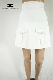 80%OFF 新品 エリザベッタフランキ ELISABETTA FRANCHI スカート 38 ESK261 Sサイズ ホワイト レディース 台形スカート イタリア製 アウトレット