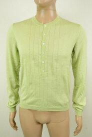 80%OFF 新品 トネッロ TONELLO コットンニット 48 MKN1072 Lサイズ 黄緑色 メンズ 長袖ニット 綿100% デザイン イタリア製 春夏