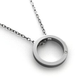 チタンネックレス CIRCLE NECKLACE 選べる誕生石[P0130-BDS&C0030]