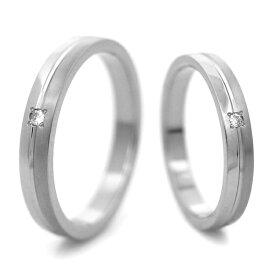 チタンマリッジリング 鏡面&筋目加工 選べる誕生石 [R0138-BDS-pair]