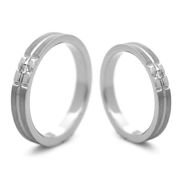 チタンマリッジリング 筋目&鏡面加工 選べる誕生石 [R0140-BDS-pair]
