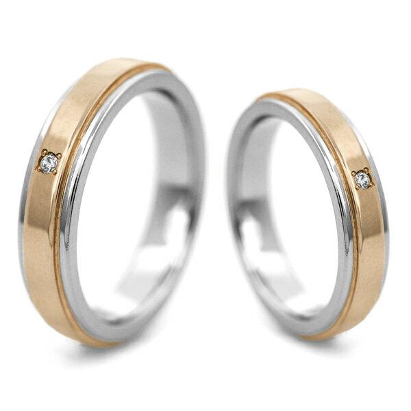 チタンマリッジリング K18ピンクゴールド帯 天然ダイヤモンド [R0147ao-WDA-pair]