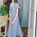 花柄 ワンピース Vネック Aライン レデイース きれいめ 優雅 パーティー ドレス マキシ丈 上品 膝下 ブルー 優雅 半袖 大人 体型カバー 夏秋 二次会 素敵なワンピース おしゃれ 着痩せ 個性
