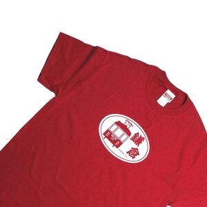 オリジナルTシャツ【鎌T 江ノ電(カーディナルレッド)】人気の江ノ電グラフィックTシャツ シルクスクリーンプリント オリジナルTシャツ 洗濯しても色落ちしません ギフトに最適
