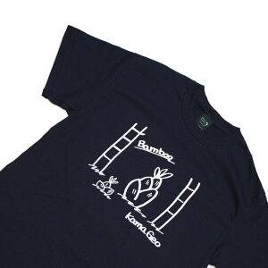 オリジナルTシャツ【鎌Tシャツ / バンブー・ネイビー】お洒落なグラフィックTシャツ シルクスクリーンプリント 手書き オリジナルTシャツ S,M,L,XLサイズ豊富 洗濯しても色落ちしません ギフ