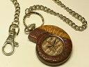 アンモナイト型ビャクダン製懐中時計(Ammolite Laboratoryオリジナル)