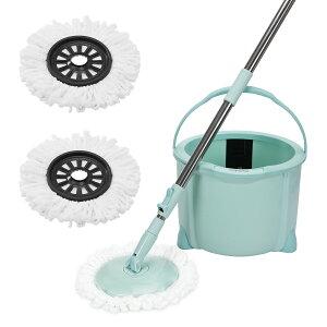 【春新色】Eyliden. フロアモップ 【ミント】フローリング 回転モップ クロス 2枚付き 取替 バケツ付き 洗浄 脱水 乾拭き 水拭き 掃除 軽量 床に優しい