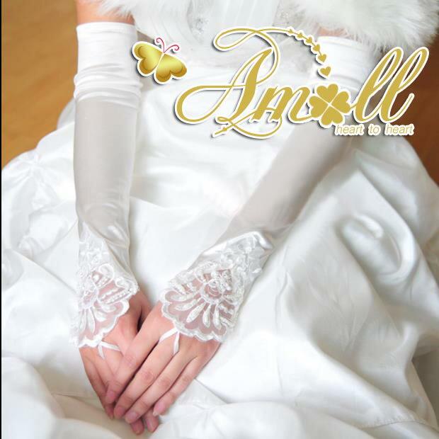 【即納】ウエディングドレス.パーティードレス.二次会ドレス.フィンガーレスグローブ.ロング.肘上  ブライズメイド【autumn_D1810】