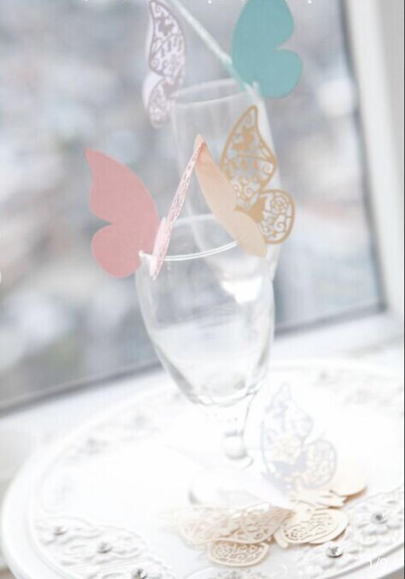 【即納】蝶形 ウェディング 席札 座席カード 10枚 結婚式 メッセージカード グラスカード