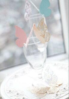 蝴蝶形婚禮位置紙幣座位卡10張婚禮留言卡玻璃杯卡