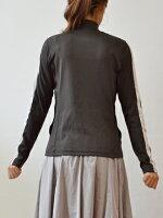 ププラ(PUPULA)プチスタンドカラー袖ボイル生地秋色ジップジャケット(pp002)