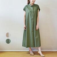 イリゼ(IRISE)Aラインシャツカラー麻ブレンドの半袖ワンピース(ir073)
