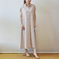 イリゼ(IRISE)Aラインシャツカラー麻ブレンドの半袖ワンピース(ir009)