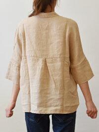 120%linoリネン五分袖シャツ(li010)