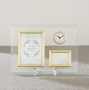 フォトフレーム おしゃれ 写真立て 時計 L判 サービスサイズ Glass グラス 時計付 クロック インテリア 雑貨 インテリアフレーム シンプル ガラス 記念日 ギフト プレゼント 贈答品 ラッピング