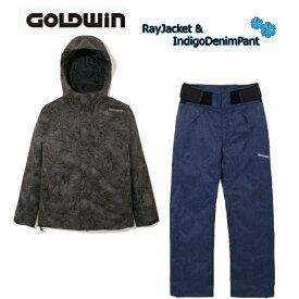 スキーウエア【GOLDWIN】ゴールドウィン スキーウェア G11711P Ray Jacket BLACK + G31712P Indigo Denim Pant ユニセックス ジャケット&パンツ 上下セット
