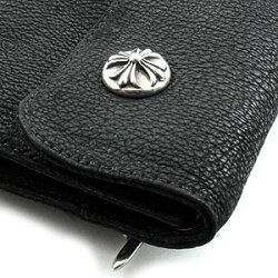 クロムハーツ・財布(Chrome・Hearts)ウェーブ・ウォレット・クロスボタン・ブラックデストロイレザー()(メンズ)(クロム・ハーツ)(長財布)