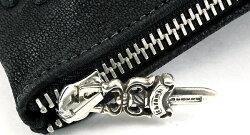【クロムハーツ財布】ウォレット-ジッパー・チェンジ・パース4×5w/ペイピング・セメタリークロスパッチV1/デストロイレザーBK