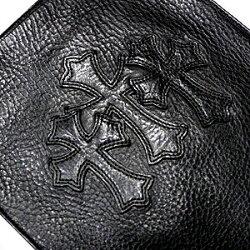 クロムハーツ(ChromeHearts)バッグ/スクウェア・ポケット・3セメタリー・ブラックヘビーレザー【ポーチ】