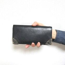 クロムハーツ財布(ChromeHearts)ロング・シングルフォールド・チップス・3ビル・ウィズ・グロメット・ブラック・ヘビーレザー(クロム・ハーツ)(長財布)