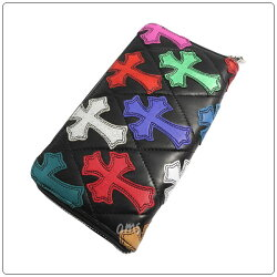 クロムハーツ財布(ChromeHearts)REC・F・ZIP#2・ブラック・ライトレザー・キルティング・セメタリークロス・マルチカラー(クロム・ハーツ)(長財布)