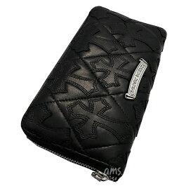 クロムハーツ 財布(Chrome Hearts)REC・F・ZIP#2・キルティングセメタリークロスブラック・ライトレザー(メンズ)(クロム・ハーツ)(長財布)
