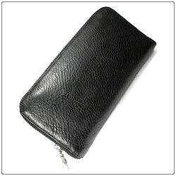 クロムハーツ財布(ChromeHearts)RECFZIP#23セメタリークロスパッチブラックヘビーレザー