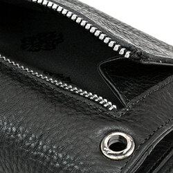 クロムハーツ・財布(Chrome・Hearts)ウェーブ・ウォレット・BSフレアボタン・ブラックヘビーレザー(クロム・ハーツ)(長財布)