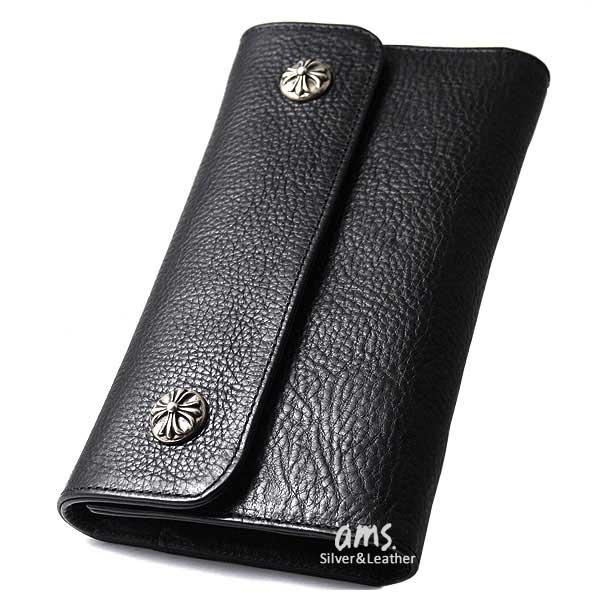クロムハーツ 財布(Chrome Hearts)ウェーブ・ウォレット・クロスボタン・ブラックヘビーレザー(メンズ)(長財布)