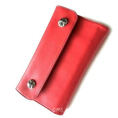 クロムハーツ・財布(Chrome・Hearts)ウェーブ・ウォレット・クロスボタン・ブラックヘビーレザー(メンズ)(クロム・ハーツ)(長財布)