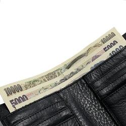 クロムハーツ財布(ChromeHearts)ウォレット・ミニ・ウェーブ・クロスボタン・ブラックヘビーレザー(クロム・ハーツ)